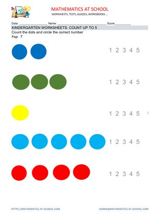 Kindergarten counting worksheets: examples