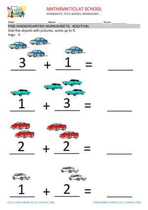 Pre-k addition worksheets: adding up to 5. Free printable pdf.