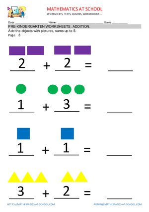 Pre-k addition worksheets example