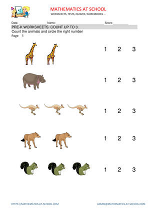 Pre-k worksheets: counting up to 3 (count animals, dots ...