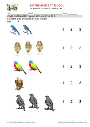 Pre-kindergarten math worksheets examples: counting up to 3 (count animals)