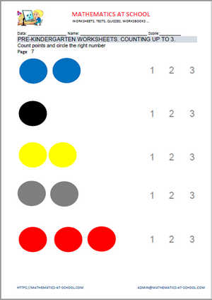 Pre-kindergarten math worksheets: counting up to 3 (count shapes)
