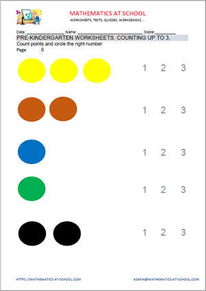 Pre-kindergarten worksheets: counting up to 3 (count dots)