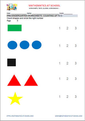 Pre-kindergarten worksheets: counting up to 3 (count shapes)