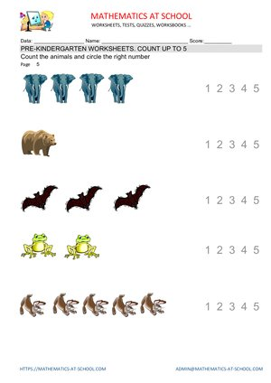 Pre-kindergarten math worksheets: counting up to 5 (count animals and birds)