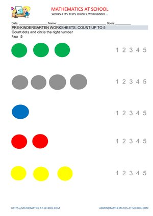 Pre-kindergarten math worksheets: counting up to 5 (count dots)