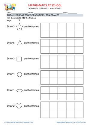 Pre-kindergarten worksheets: ten frames (count objects and frames)