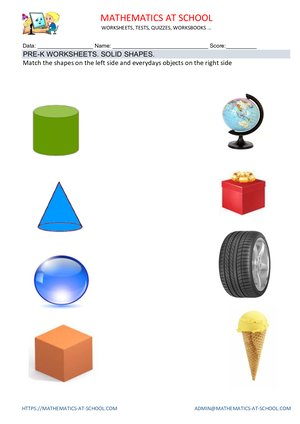 Pre-kindergarten math worksheets: solid shapes (name the shapes: cubes, cones, spheres, cylinders)