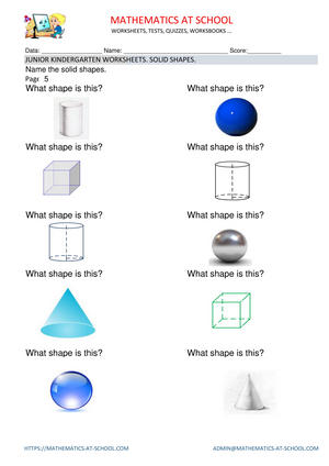 Pre-kindergarten math worksheets: solid shapes (name the shape)