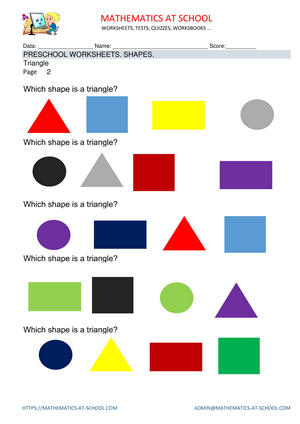 Pre-kindergarten math worksheets: shapes (name the shape: circle, rectangle, triangle, square)