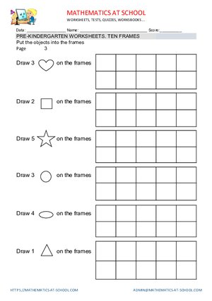 Pre K Math Worksheets Counting Up To 5 Represent Numbers