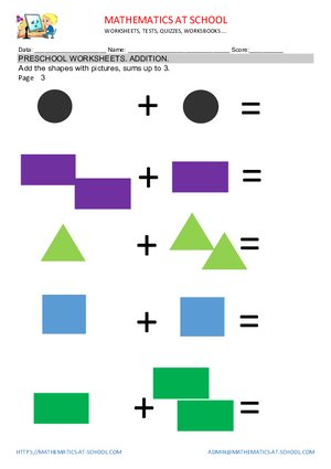 Preschool addition worksheets example