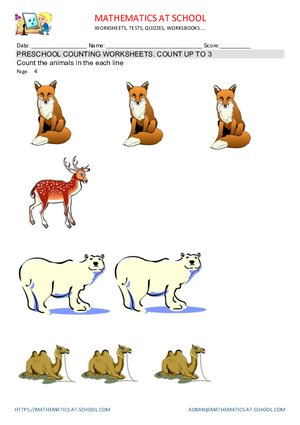 Preschool counting worksheets examples, animals