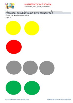 Preschool counting worksheets examples, dots