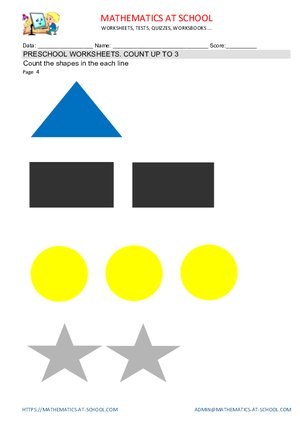 Preschool counting worksheets examples, shapes