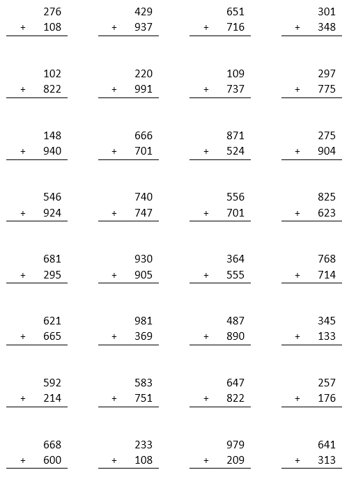 Addition Worksheets Three Number Addition Worksheets Printable – Three Number Addition Worksheets