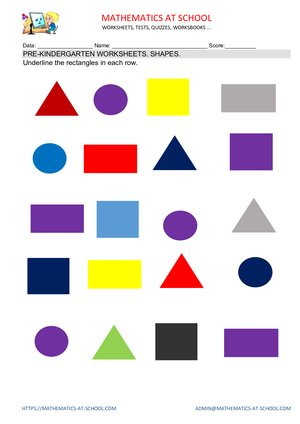 Pre-kindergarten worksheets: shapes (name the shape: circle, rectangle, triangle, square)