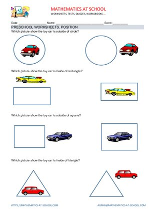 Preschool worksheets: position (outside, inside, on the left, on the left, in the middle, above, bellow)