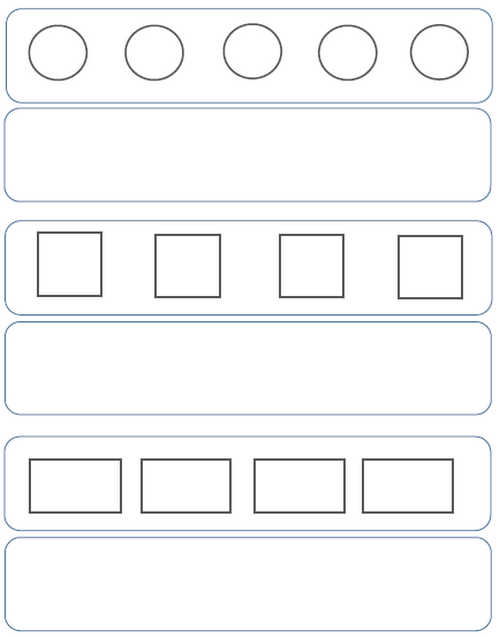 Preschool Pattern Worksheets: Size, Color, Shape, Complete.