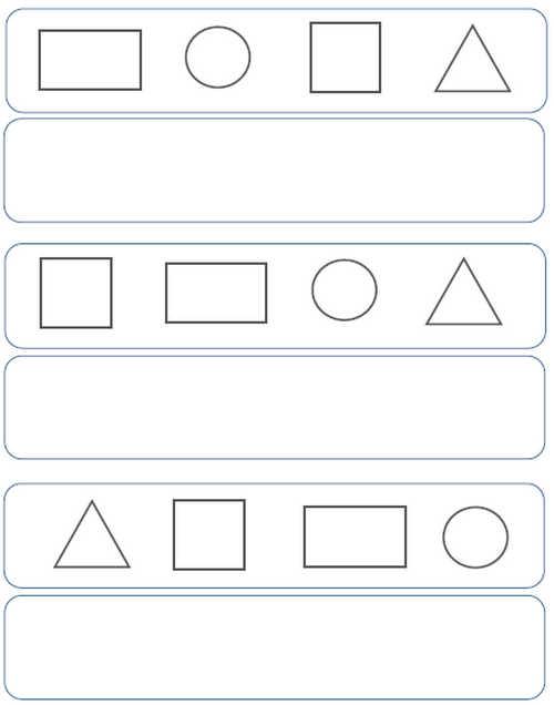 preschool pattern worksheets size color shape complete. Black Bedroom Furniture Sets. Home Design Ideas