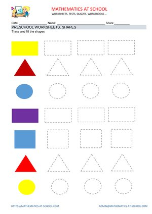 Preschool worksheets: shapes (name the shape: circle, rectangle, triangle, square)